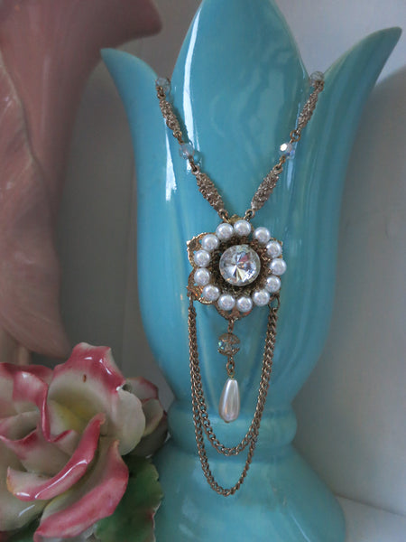 Pearl & Crystal Swag Necklace
