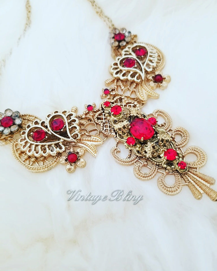 Beautiful Red Bib Necklace
