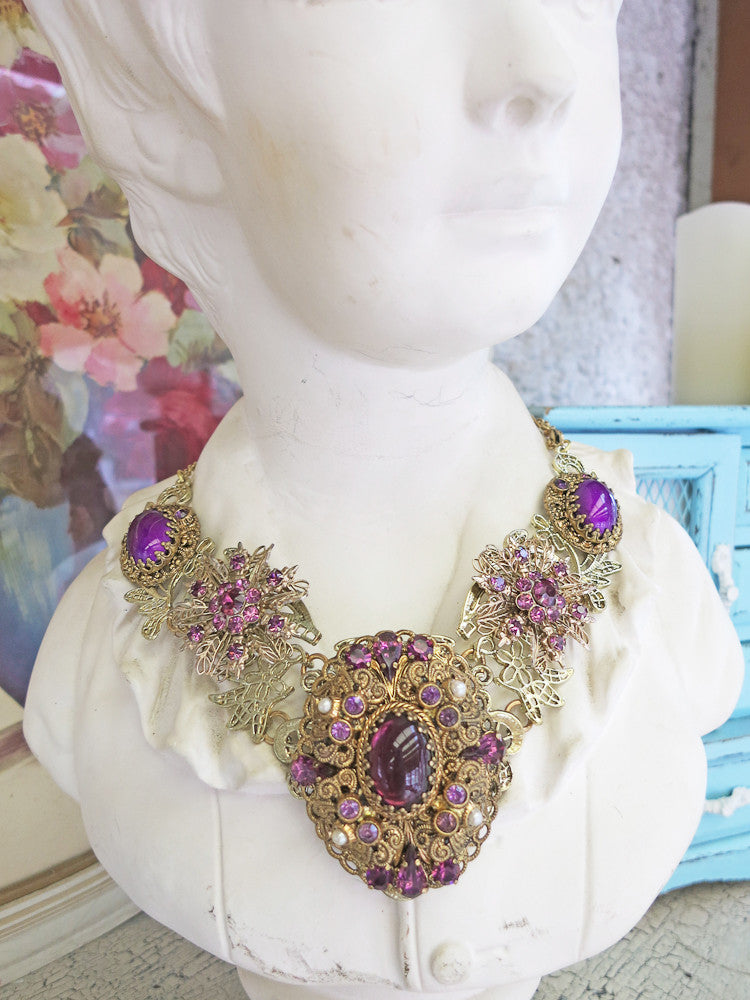 Regal Purple Statement Collar Necklace