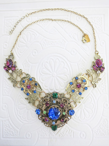 Royal Blue and Purple Statement Collar/Necklace