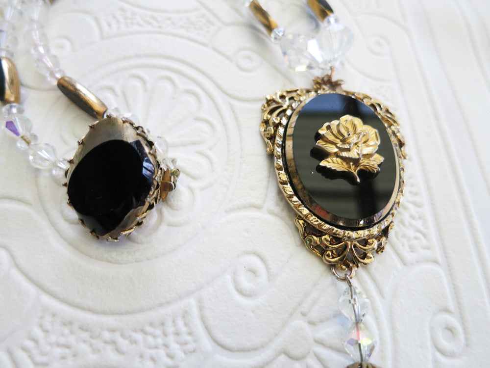 Black and Gold Rose Necklace