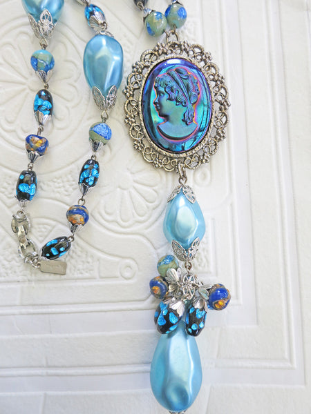 Carnival Glass Cameo Necklace