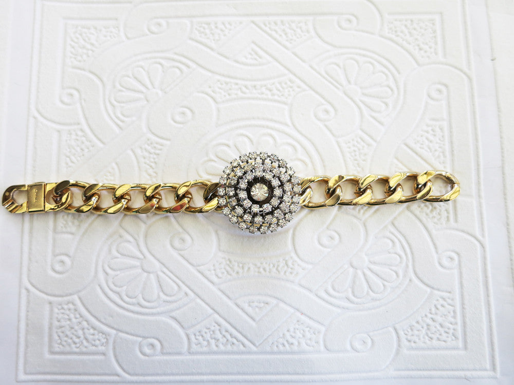 Gold and Rhinestone Statement Bracelet