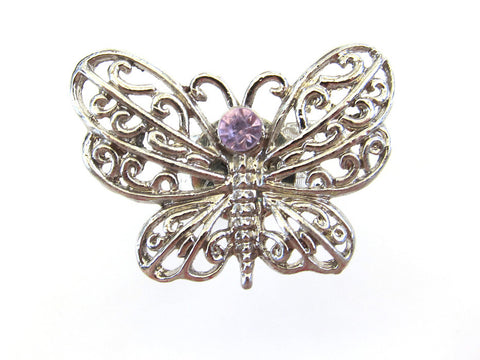 Silver Filigree Butterfly Ring