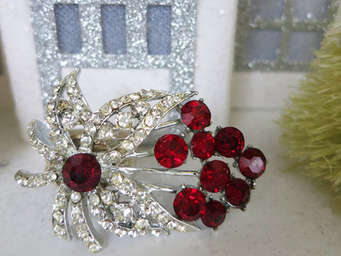 Red Rhinestone Statement Ring