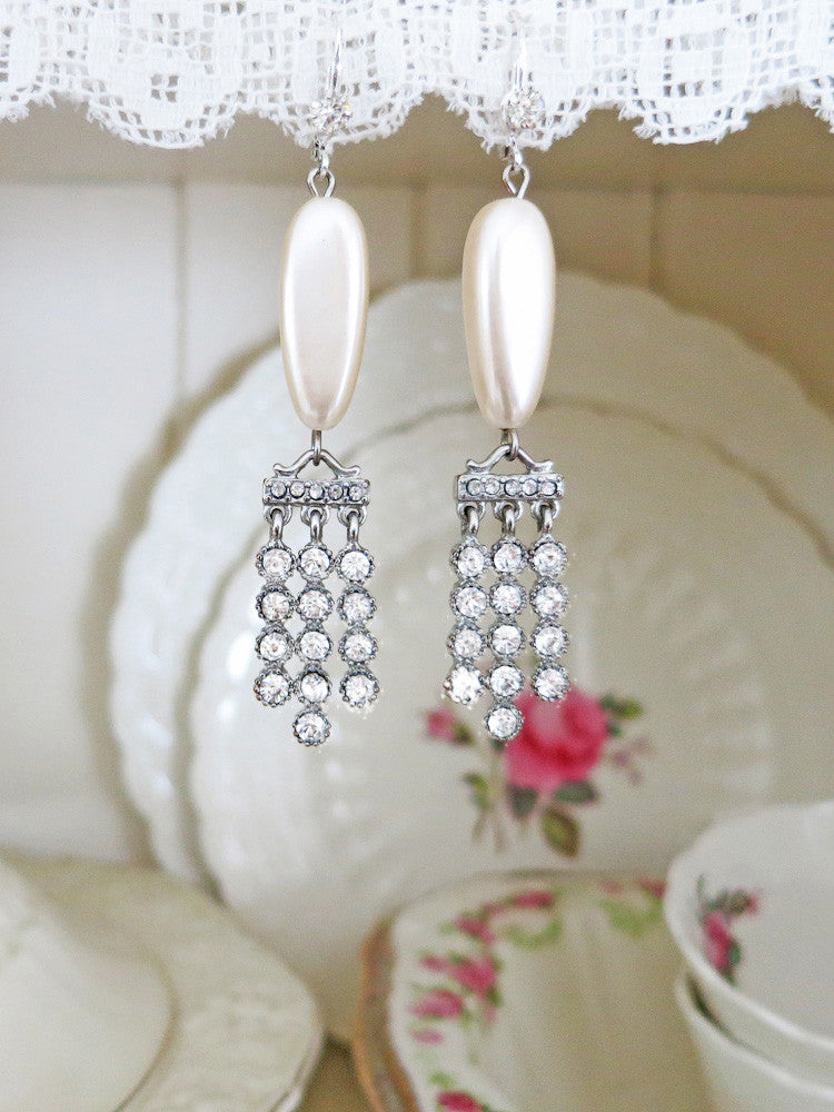 Art Deco Pearl and Rhinestone Earrings