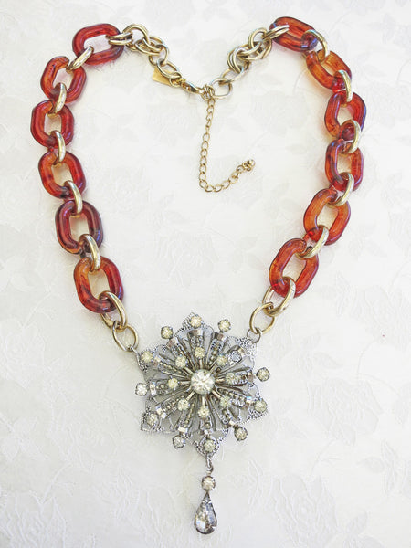 Tortoise Shell Starburst Necklace