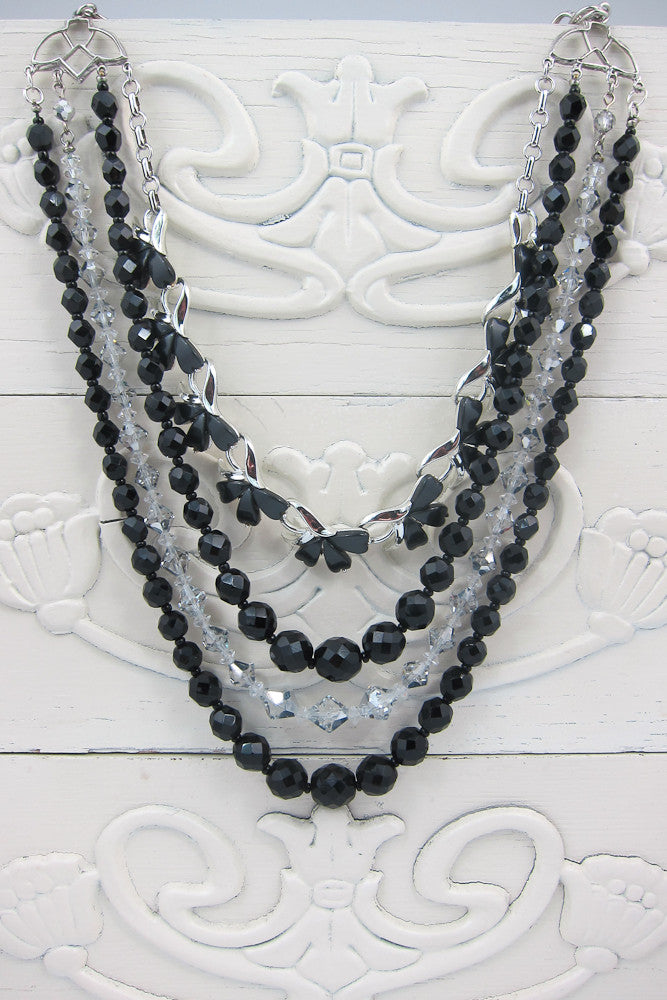 Multi-Strand Black with Swarovski Crystal Necklace