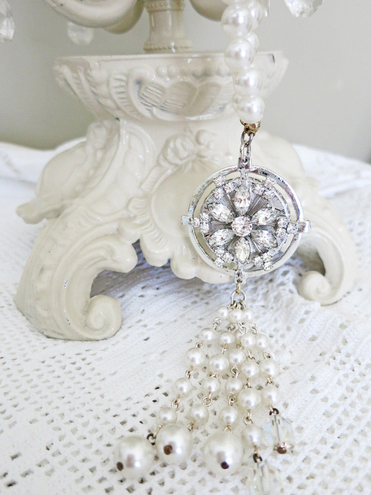 Long Pearl and Rhinestone Gatsby Necklace With Tassel