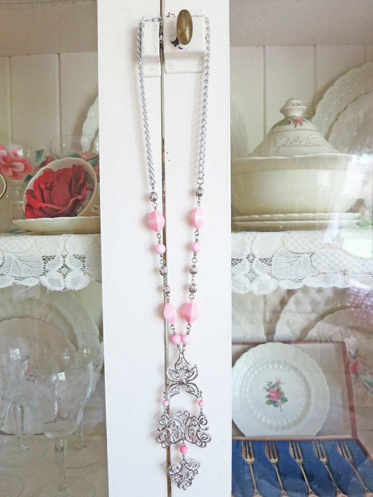 Pretty Pink and Silver Filigree Necklace