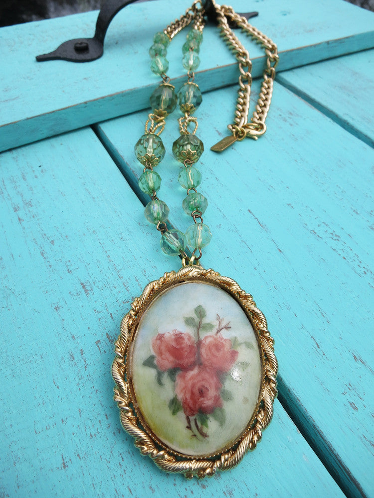 Hand Painted Roses Necklace
