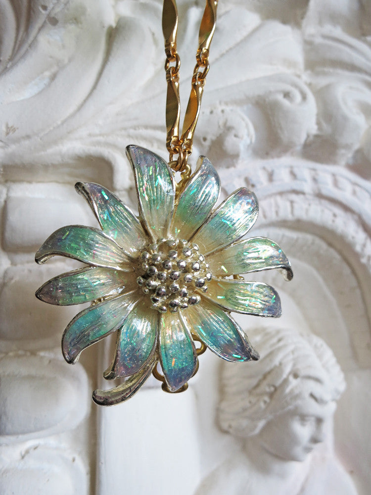 Iridescent Green Flower Necklace
