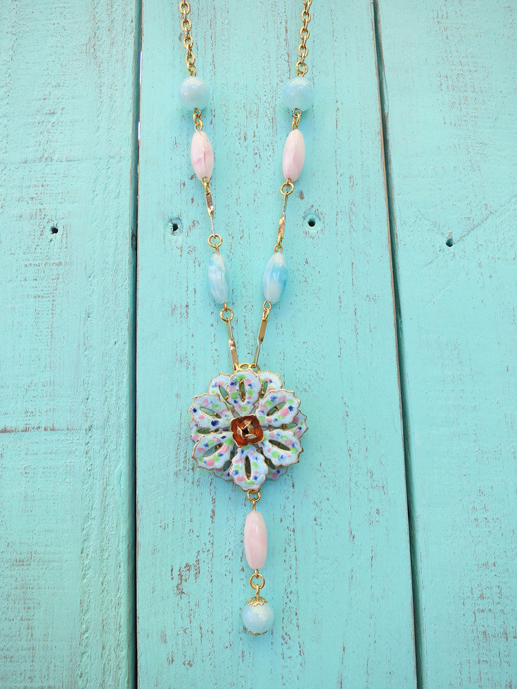 Perfectly Pastel Flower Necklace (With Earrings $145.00)