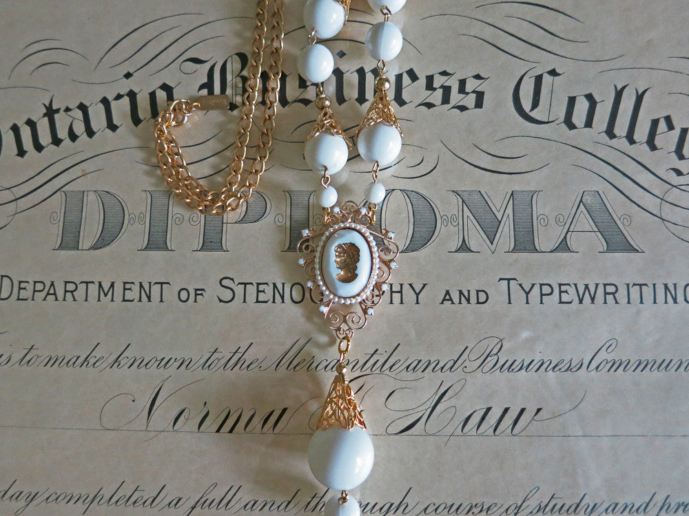 White and Gold Cameo Necklace
