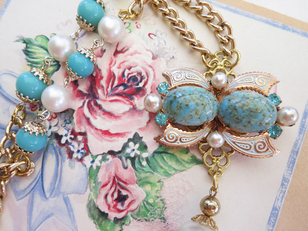 Turquoise Butterfly Statement Necklace