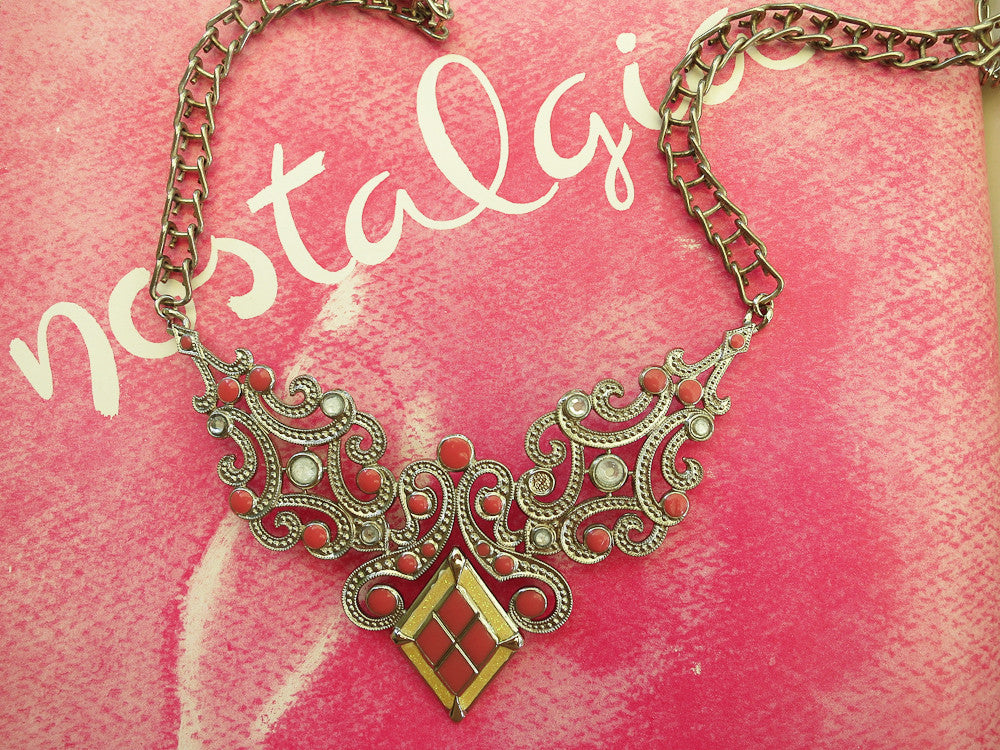 Pink and Yellow Statement Collar Necklace