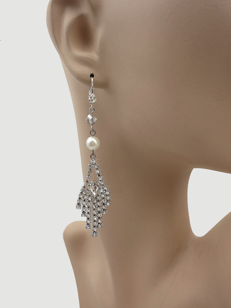 Cascading Rhinestone Chandelier Earrings