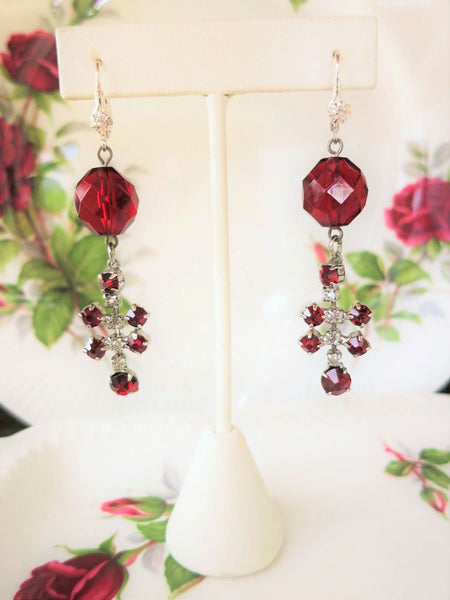 Red Rhinestone Statement Earrings