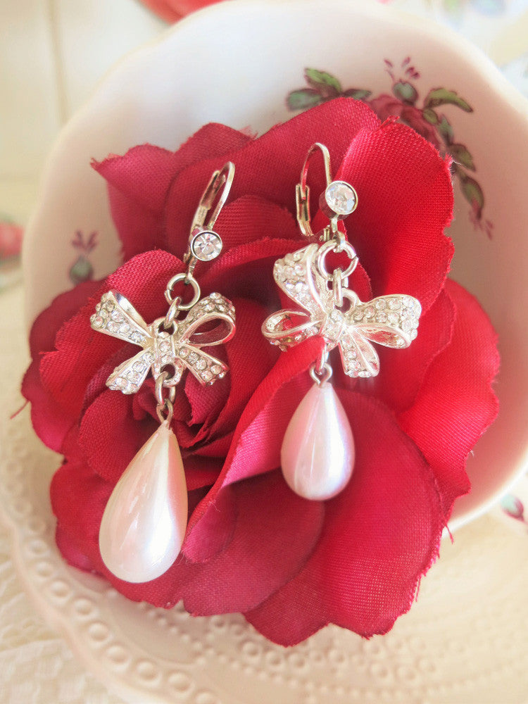 Pearl Teardrop & Rhinestone Bow Earrings