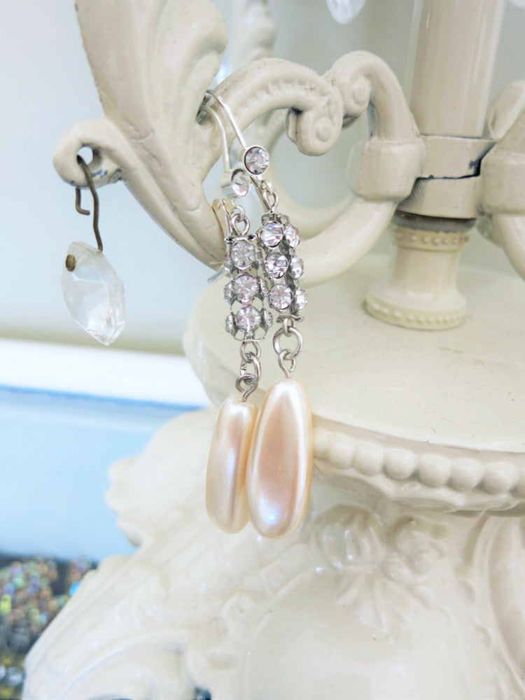 Elegant Rhinestone and Pearl Earrings