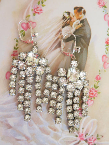 Rhinestone Waterfall Earrings