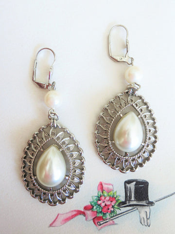 Large Pearl Teardrop Earrings
