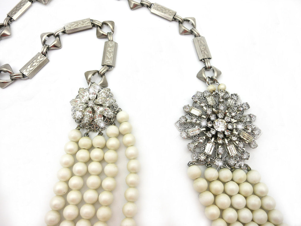 Multi-strand Pearls With Rhinestones