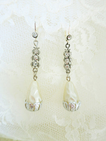 Rhinestone and Pearl Teardrop Earrings