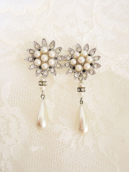 Starburst Rhinestone and Pearl Earrings