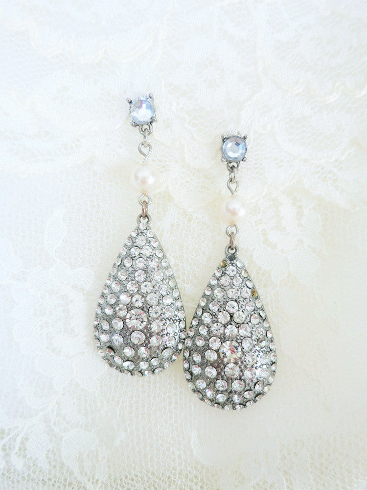 Large Rhinestone Teardrop Earrings