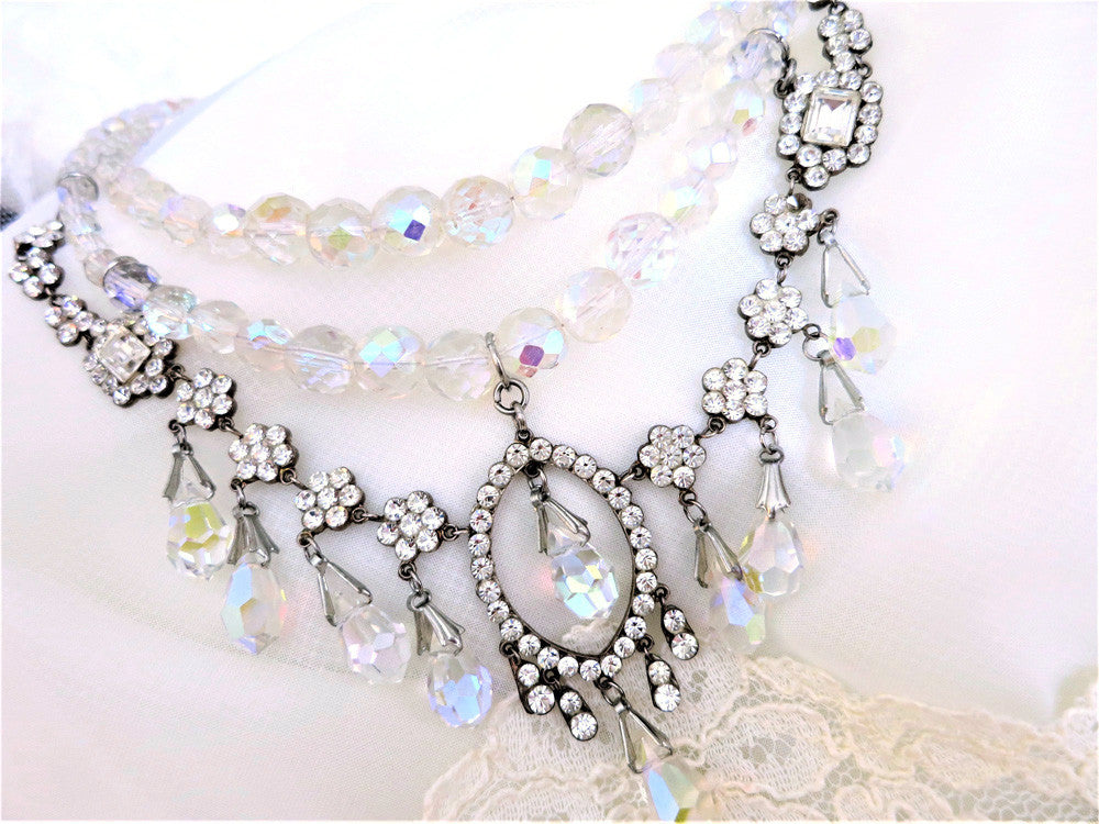Cascading Teardrop Swarovski Crystal Necklace