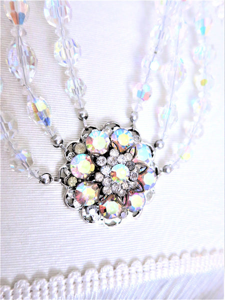 Swarovski Crystal Three Strand Swag Necklace