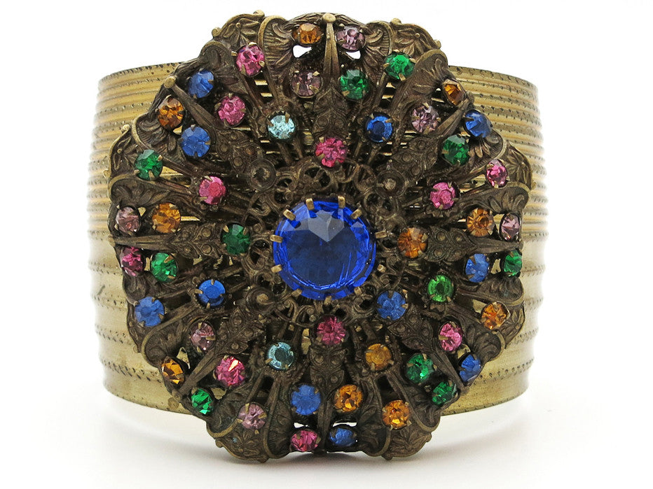 Chunky Colorful Rhinestone Cuff