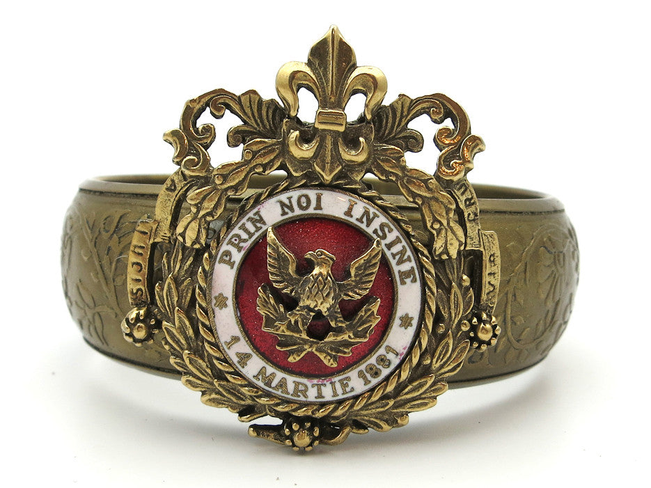Cuff With Vintage Romanian Military Pin