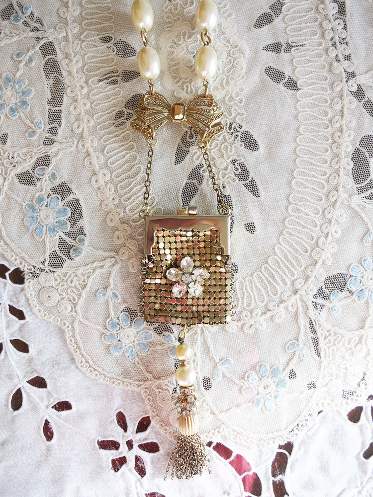 Vintage Purse with Tassel Necklace