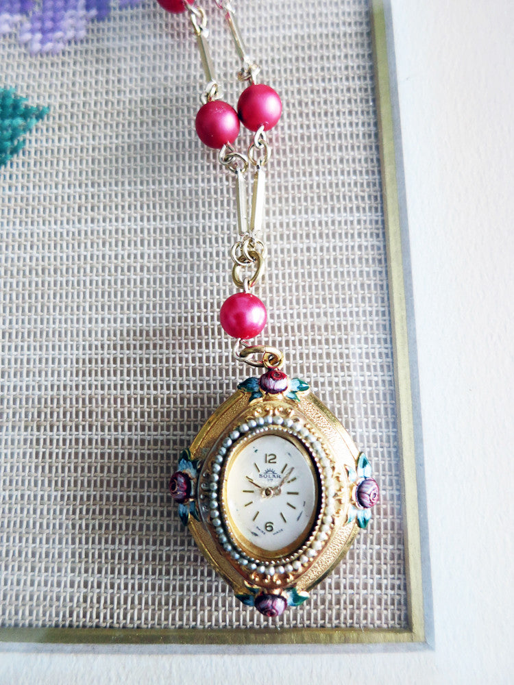 Rose Necklace with Vintage Watch Face
