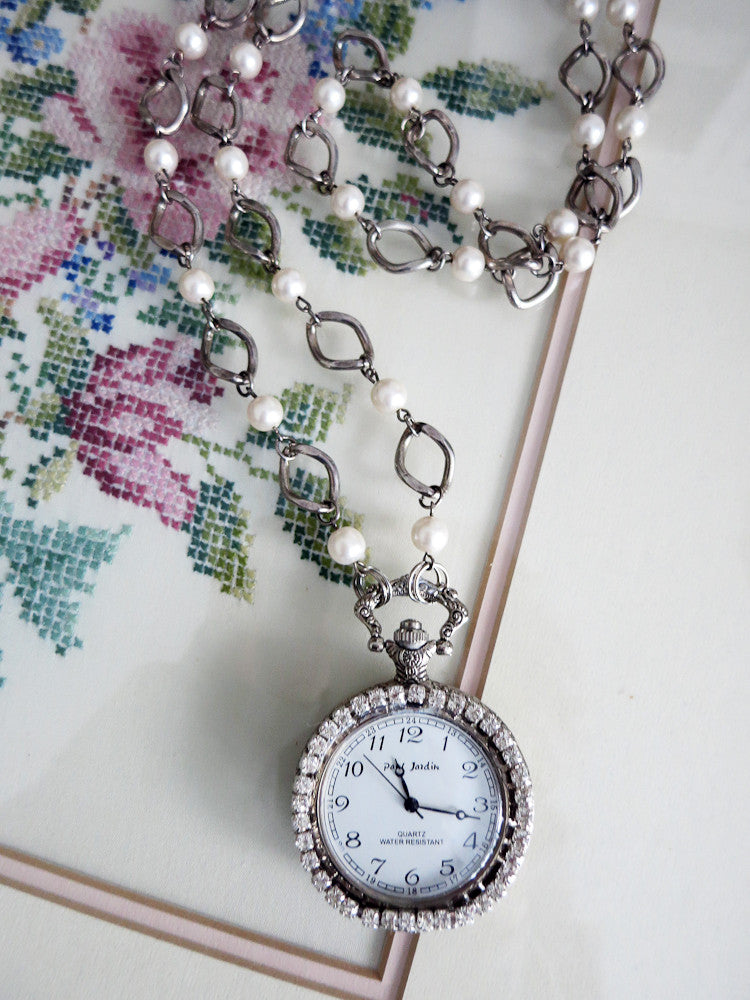 Pocket Watch with Rhinestones Necklace