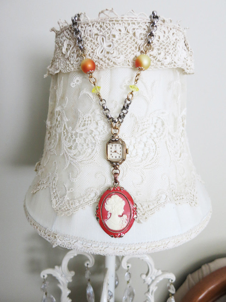 Citrus Vintage Watch and Cameo Necklace