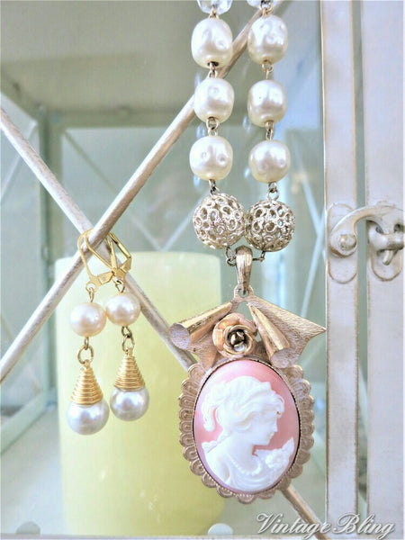 Pretty Pink Cameo & Pearl Necklace