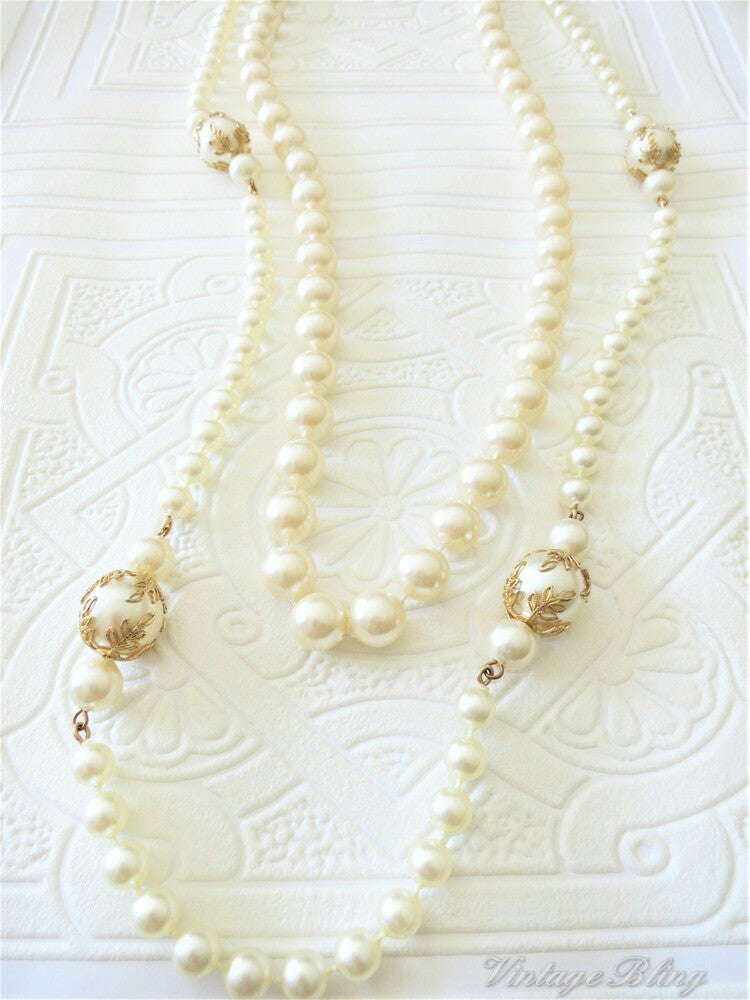 Double Strand Long Pearl Necklace