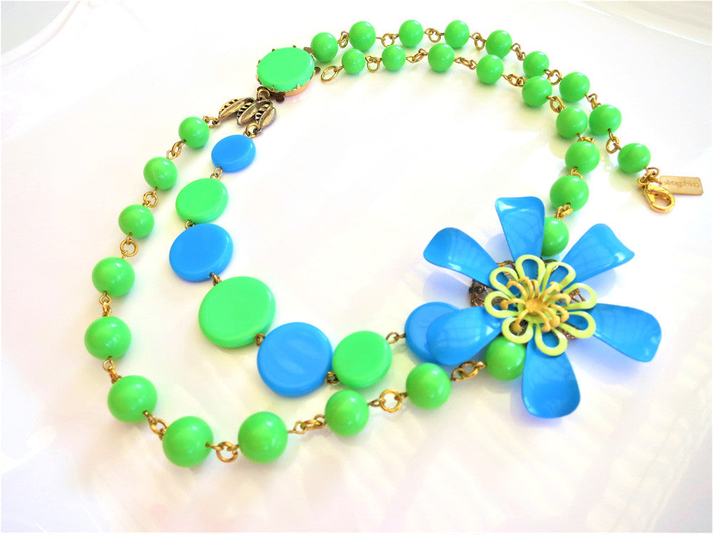 Funky Blue and Green Enamel Flower Necklace