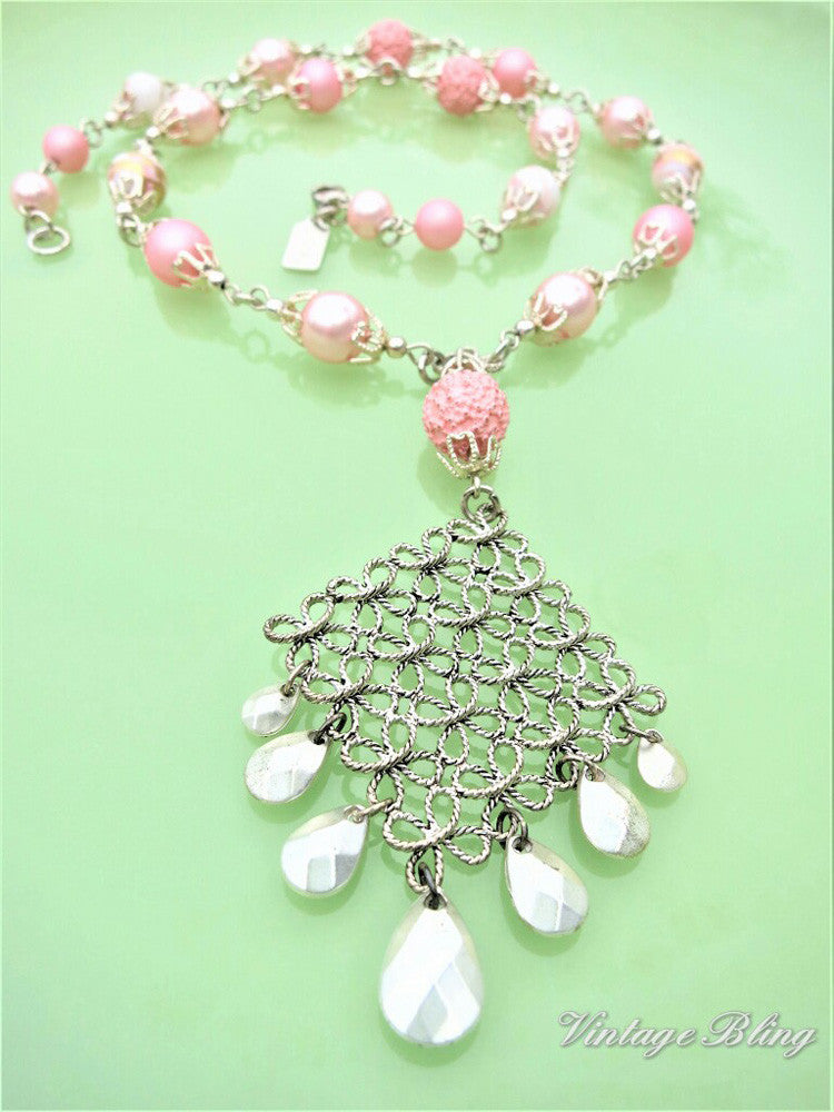Pink with Silver Filigree Necklace