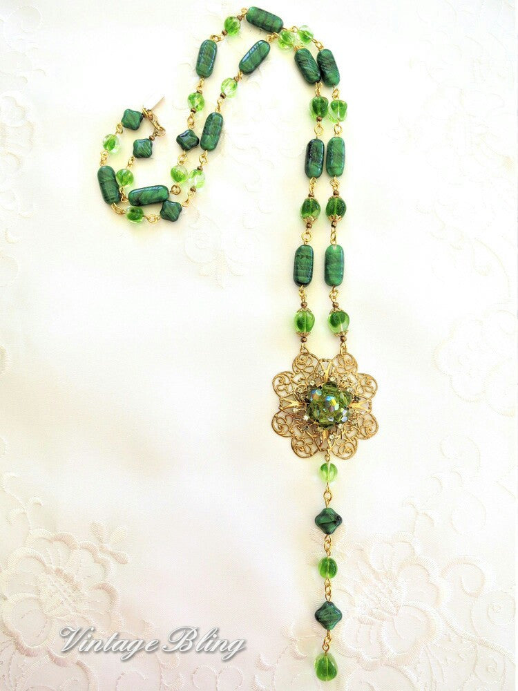 Fabulous Long Green Necklace
