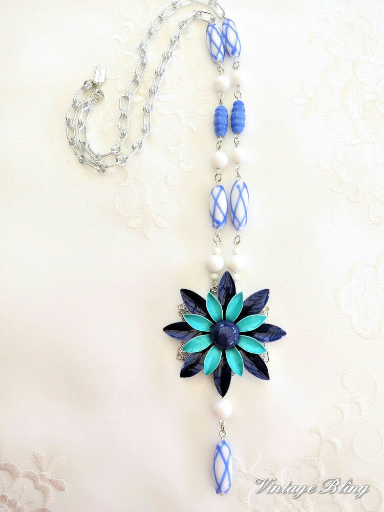 Aqua, Blue & White Enamel Flower Necklace