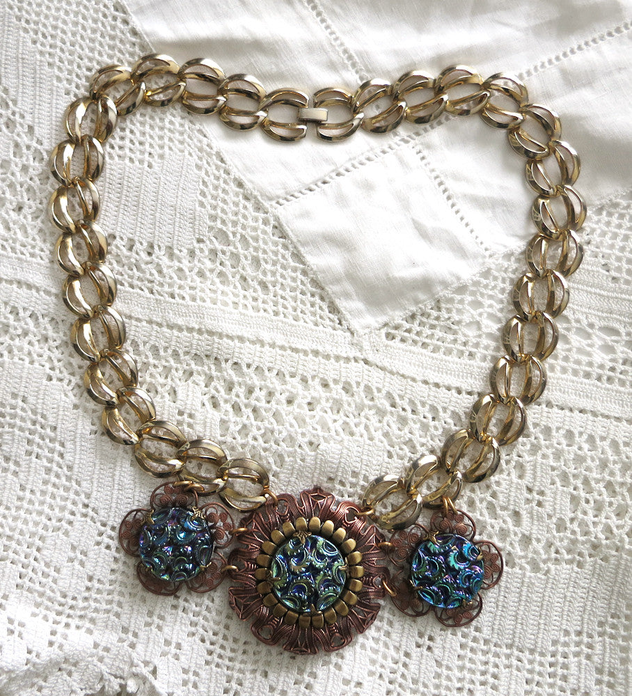 Copper and Gold Chunky Statement Necklace