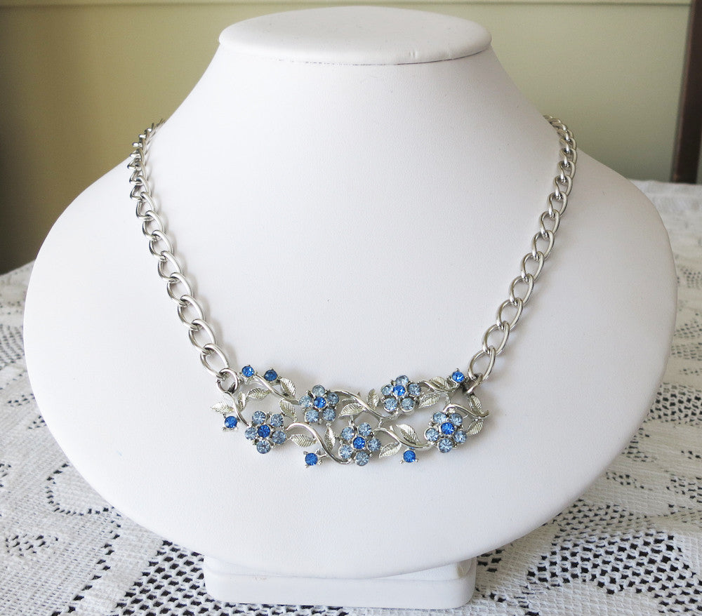 Pretty Silver and Blue Necklace
