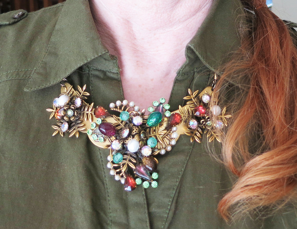Amber and Green Statement Collar Necklace