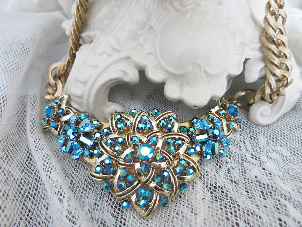 Fabulous Teal Rhinestone Collar Necklace