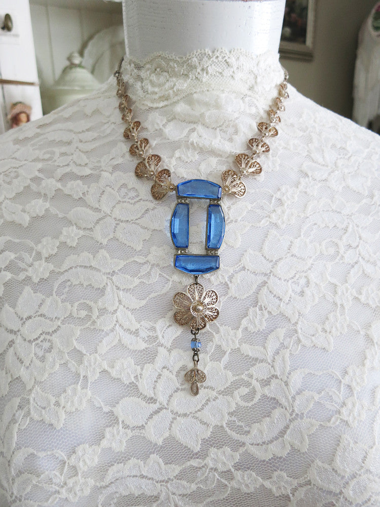 Blue With Silver Filigree Necklace