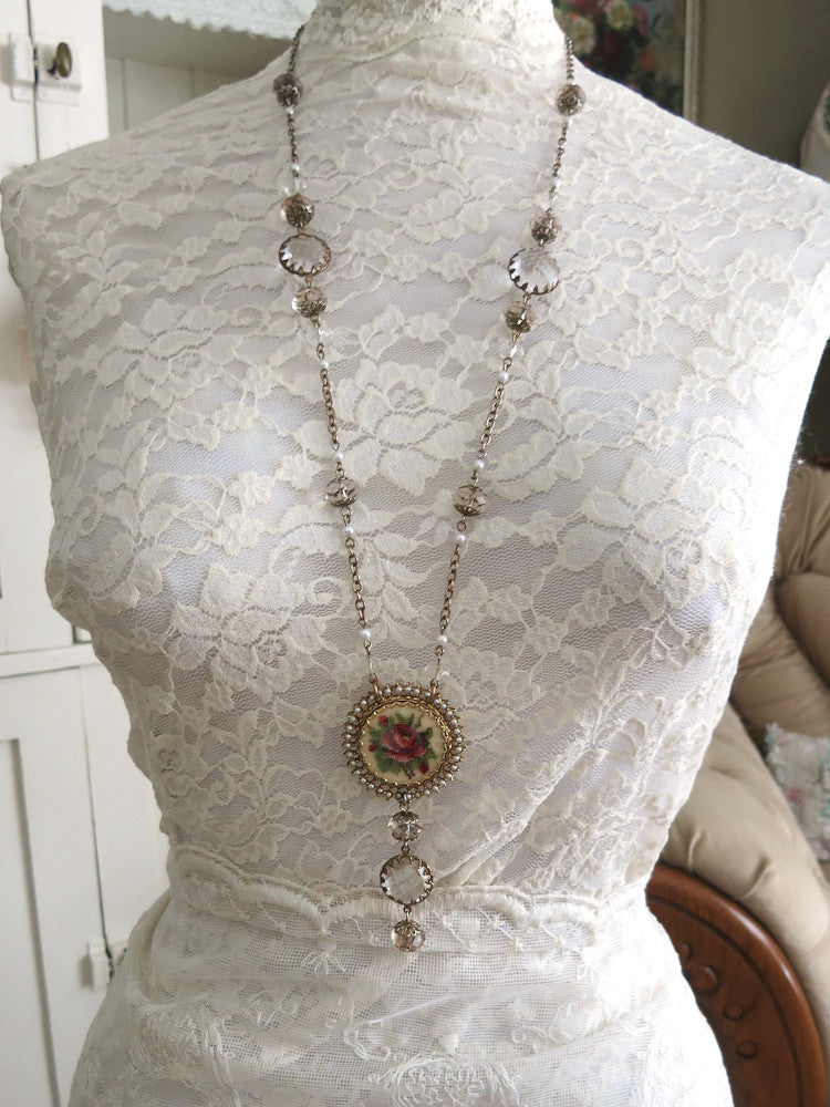 Long Petite Point Rose Necklace